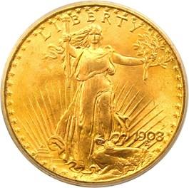 Image of 1908 $20 PCGS MS66 (No Motto, Wells Fargo Nevada Gold Hoard)