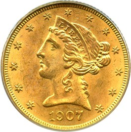 Image of 1907-D $5 PCGS MS64