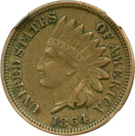 Image of 1864 1c NGC XF45 (Copper Nickel)