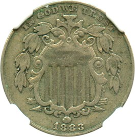 Image of 1883 Shield 5c NGC VF35