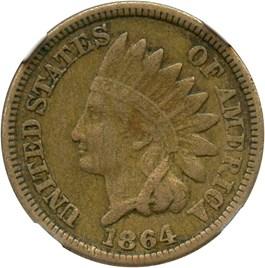 Image of 1864 1c NGC XF40 (Copper Nickel)