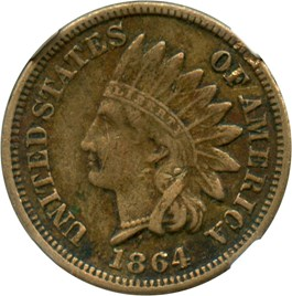 Image of 1864 1c NGC XF40 (Copper Nickel)