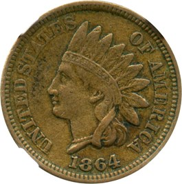 Image of 1864 1c NGC XF45 (Copper Nickel)