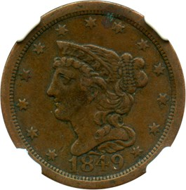 Image of 1849 1/2c NGC XF40 BN (Large Date, C-1)