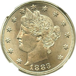 Image of 1883 5c NGC MS65 (No Cents)