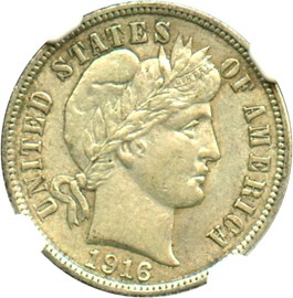 Image of 1916 Barber 10c NGC AU58