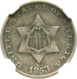 Image of 1853 3cS NGC VF35