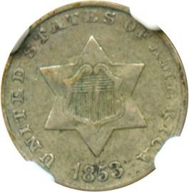 Image of 1853 3cS NGC VF35