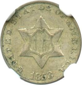 Image of 1853 3cS NGC XF45