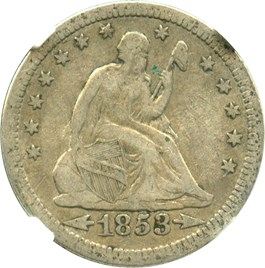 Image of 1853 25c NGC VF25 (Arrows & Rays)
