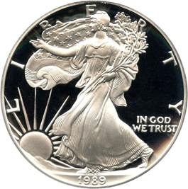 Image of 1989-S Silver Eagle $1 PCGS Proof 70 DCAM (Doily)