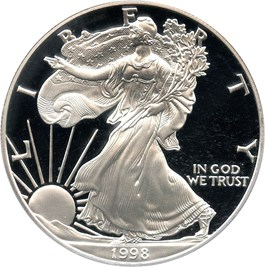 Image of 1998-P Silver Eagle $1 PCGS Proof 70 DCAM (Doily)