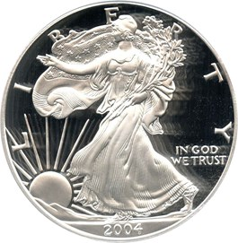 Image of 2004-W Silver Eagle $1 PCGS Proof 70 DCAM (Doily)