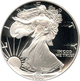 Image of 1990-S Silver Eagle $1 PCGS Proof 70 DCAM (Doily)