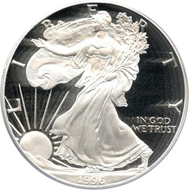 Image of 1996-P Silver Eagle $1 PCGS Proof 70 DCAM (Doily)