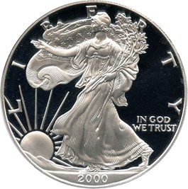 Image of 2000-P Silver Eagle $1 PCGS Proof 70 DCAM