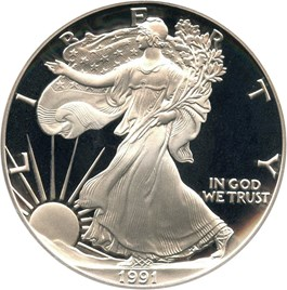 Image of 1991-S Silver Eagle $1 PCGS Proof 70 DCAM