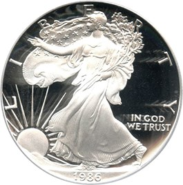 Image of 1986-S Silver Eagle $1 PCGS Proof 70 DCAM
