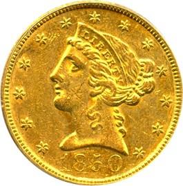 Image of 1850 $5 PCGS AU55