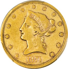 Image of 1874-S $10 PCGS VF30
