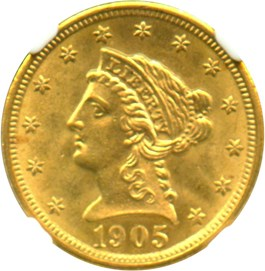 Image of 1905 $2 1/2 NGC MS64