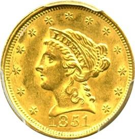 Image of 1851 $2 1/2 PCGS MS62