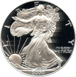 Image of 2000-P Silver Eagle $1 PCGS Proof 70 DCAM (Doily)