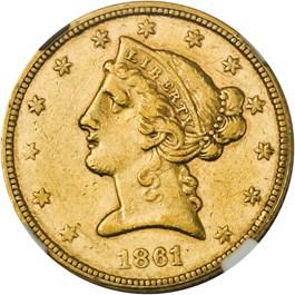 Image of 1861 $5 NGC AU53