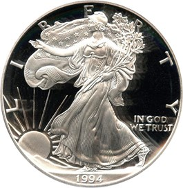 Image of 1994-P Silver Eagle $1 PCGS Proof 70 DCAM (Doily)