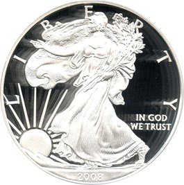 Image of 2008-W Silver Eagle $1 PCGS Proof 70 DCAM (Doily)