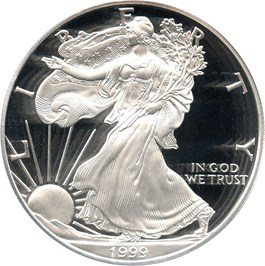 Image of 1999-P Silver Eagle $1 PCGS Proof 70 DCAM (Doily)