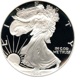 Image of 1995-P Silver Eagle $1 PCGS Proof 70 DCAM (Doily)