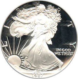 Image of 1987-S Silver Eagle $1 PCGS Proof 70 DCAM (Doily)