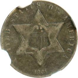 Image of 1861 3cS NGC VF25