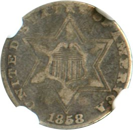 Image of 1858 3cS NGC VF25