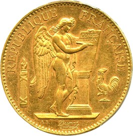 Image of France: 1906-A 100 Franc PCGS AU58 (Angel, KM-832) .9334oz Gold