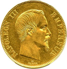 Image of France: 1858-A 100 Franc PCGS AU55 (Napoleon, KM-786.1) .9334oz Gold