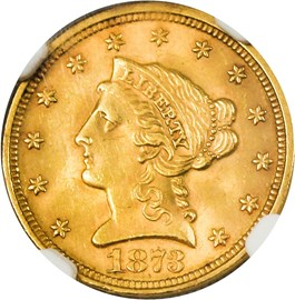Image of 1873 $2 1/2 NGC MS63 (Closed 3)