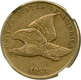 Image of 1858 Flying Eagle 1c NGC/CAC AU50 (Small Letters)