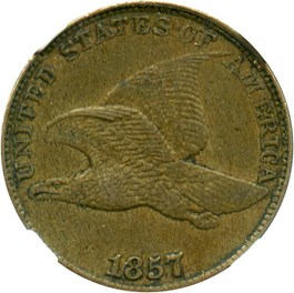 Image of 1857 Flying Eagle 1c NGC/CAC AU50