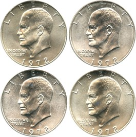Image of Collector Lot of 1972-S $1: All PCGS MS66 (Silver) (4 Coins)