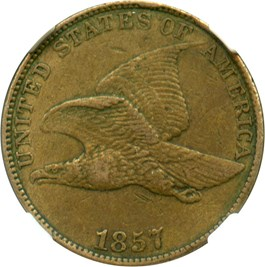 Image of 1857 Flying Eagle 1c NGC/CAC AU53