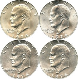 Image of Collector Lot of 1974-S $1: All PCGS MS66 (Silver) (4 Coins)
