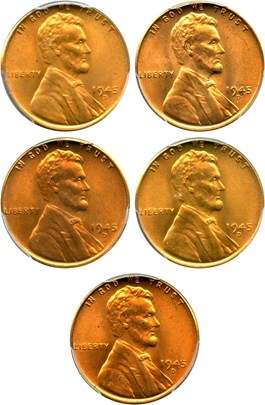 Image of Collector Lot of 1945-D 1c: All PCGS MS66 RD (5 Coins)