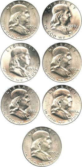 Image of Collector Lot of 1959 50c: All PCGS MS63 (7 Coins)