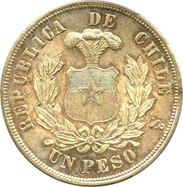 Image of Chile: 1883-So Peso PCGS Secure MS65 (Round Top 3, KM-142.1) 0.7234oz Silver