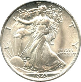 Image of 1943 50c PCGS/CAC MS67+