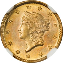Image of 1853 G$1 NGC MS65+