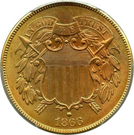 Image of 1866 2c PCGS/CAC MS66 RB