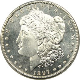 Image of 1897 $1 PCGS/CAC MS66+ PL